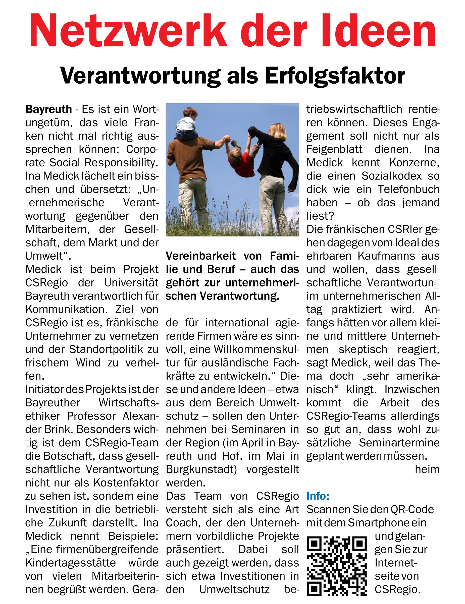 """""""Netzwerk der Ideen – Verantwortung als Erfolgsfaktor"""" in 'Fränkische Zeitung' im Februar 2013"""