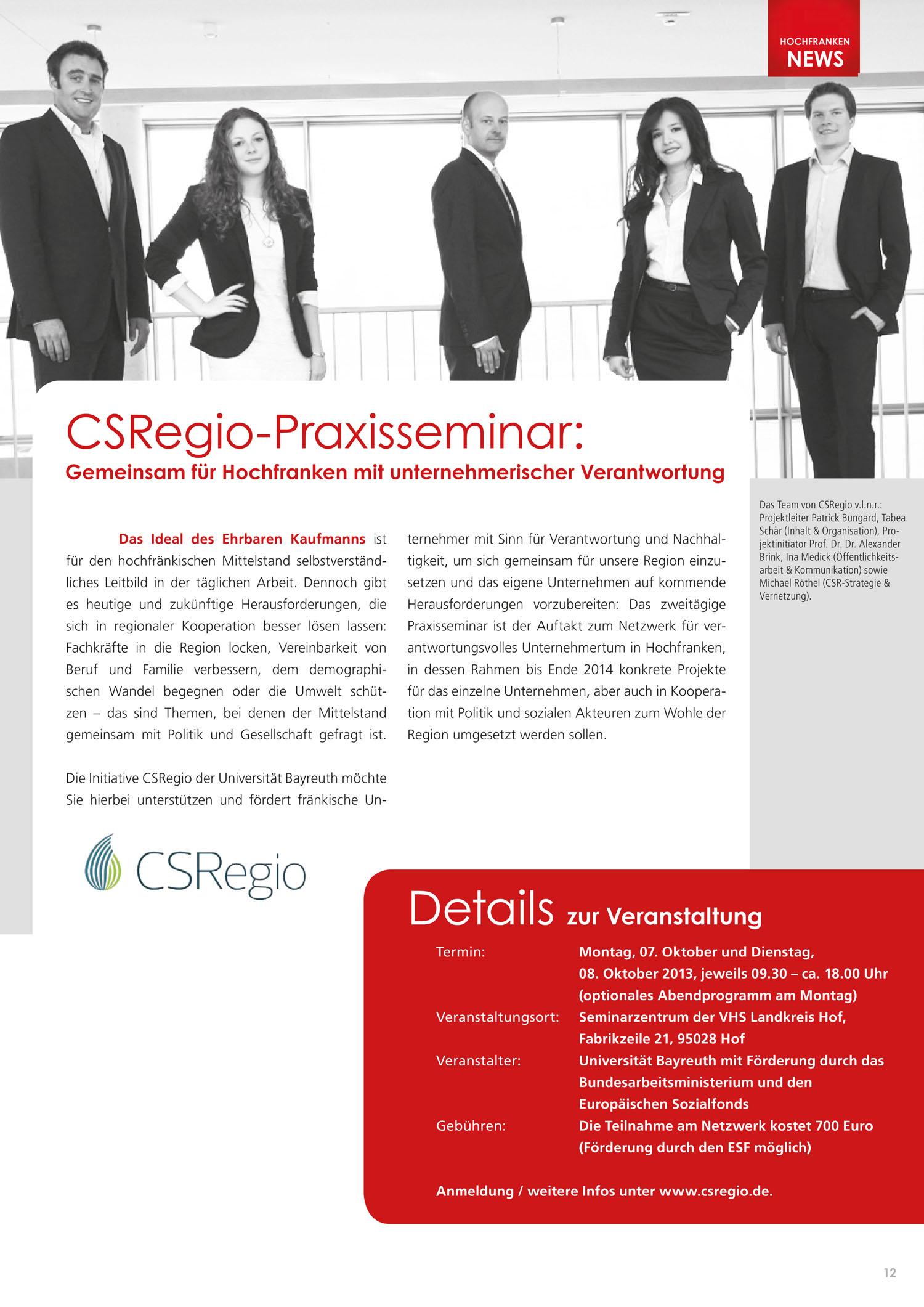 """""""CSRegio Praxisseminar"""" in 'Wirtschaftsregion Hochfranken' am 26. Juni 2013"""