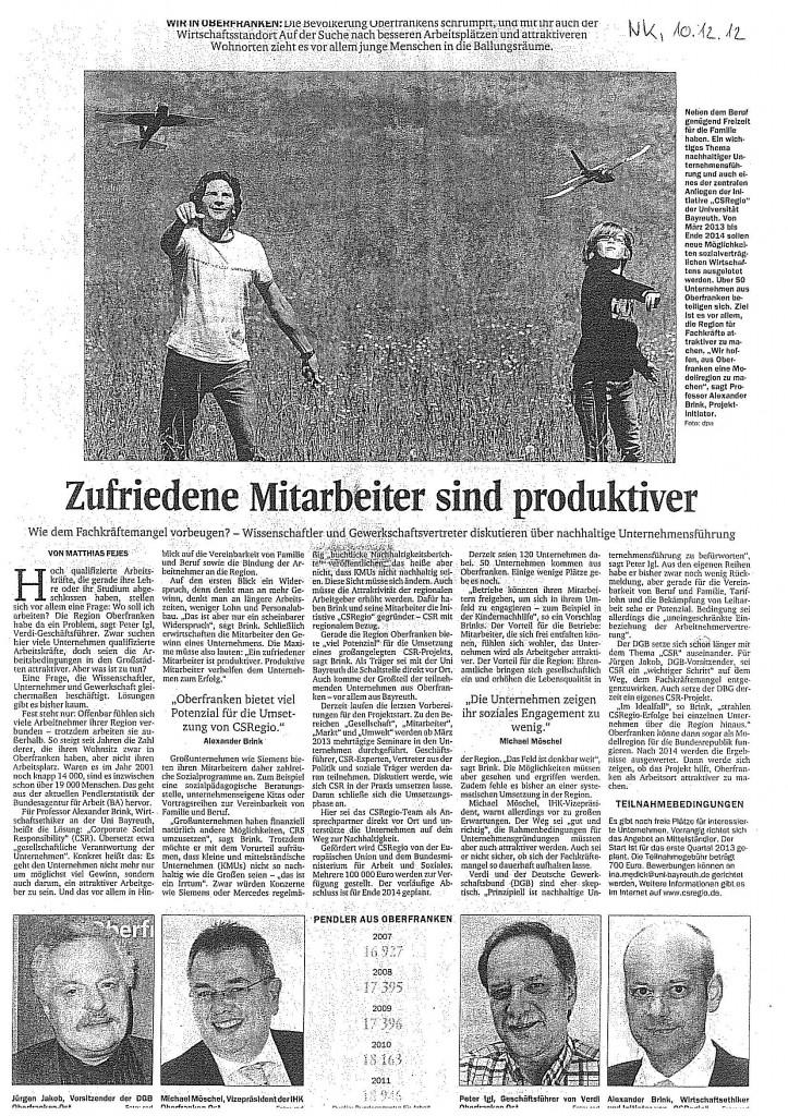 """""""Zufriedene Mitarbeiter sind produktiver"""" von Matthias Feijes, in Nordbayerischer Kurier, 10.12.2012"""