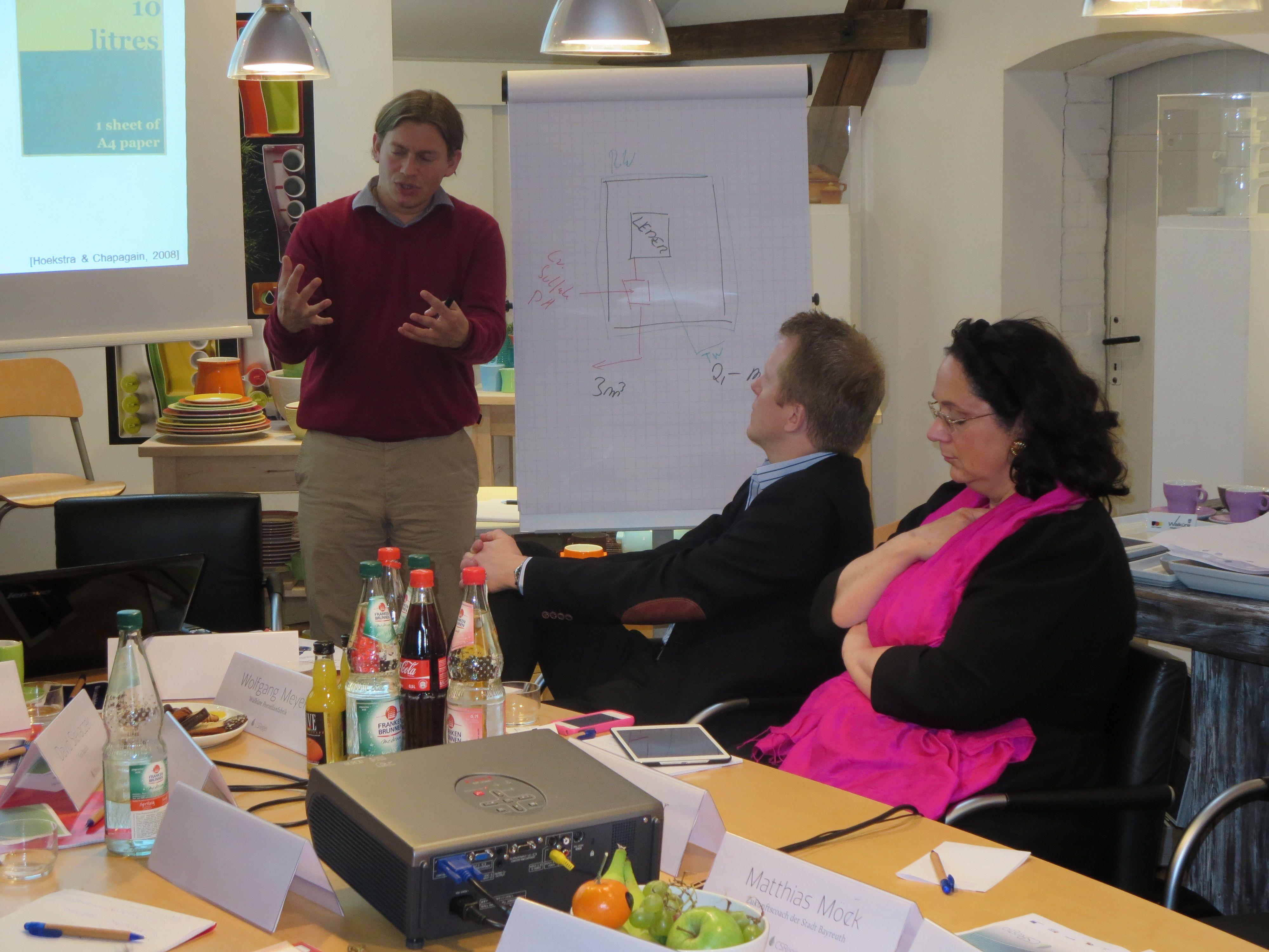 Frederik Maurer von iwr Ing. während seines Vortrags zum Wasser-Fußabdruck