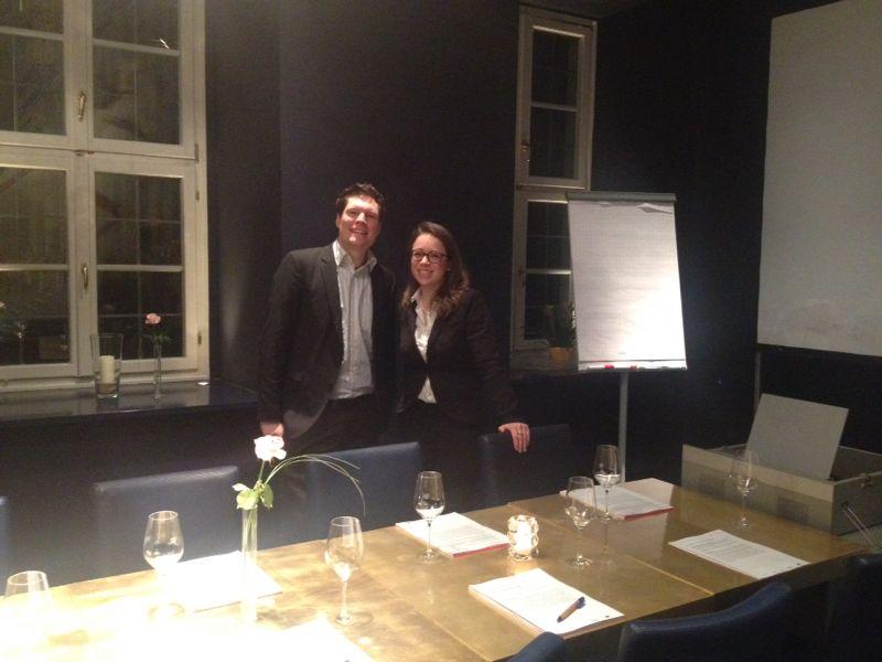 CSRegio-Mitarbeiter beim Abendworkshop in Würzburg, v.l.n.r. Michael Röthel und Corinna Schreier